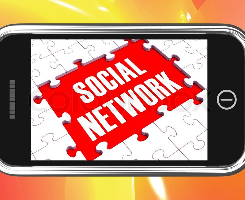 Social Network On Smartphone Showing Online Interactions And Mobile Communications, stock photo