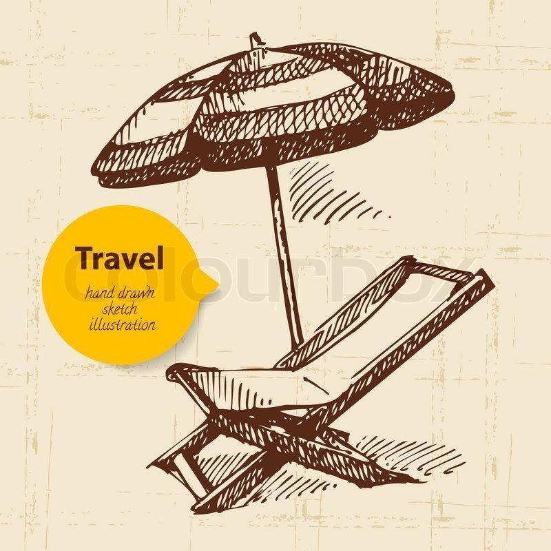 Sessel gezeichnet  Weinlese- Reise- Hintergrund mit Strand Sessel und Sonnenschirm ...
