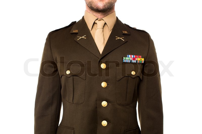 Cropped image of a man dressed in world war II uniform, stock photo
