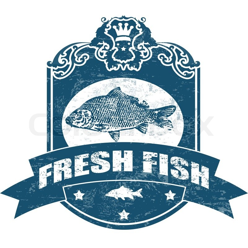 Fresh fish stamp stock vector colourbox for Fish symboled stamp