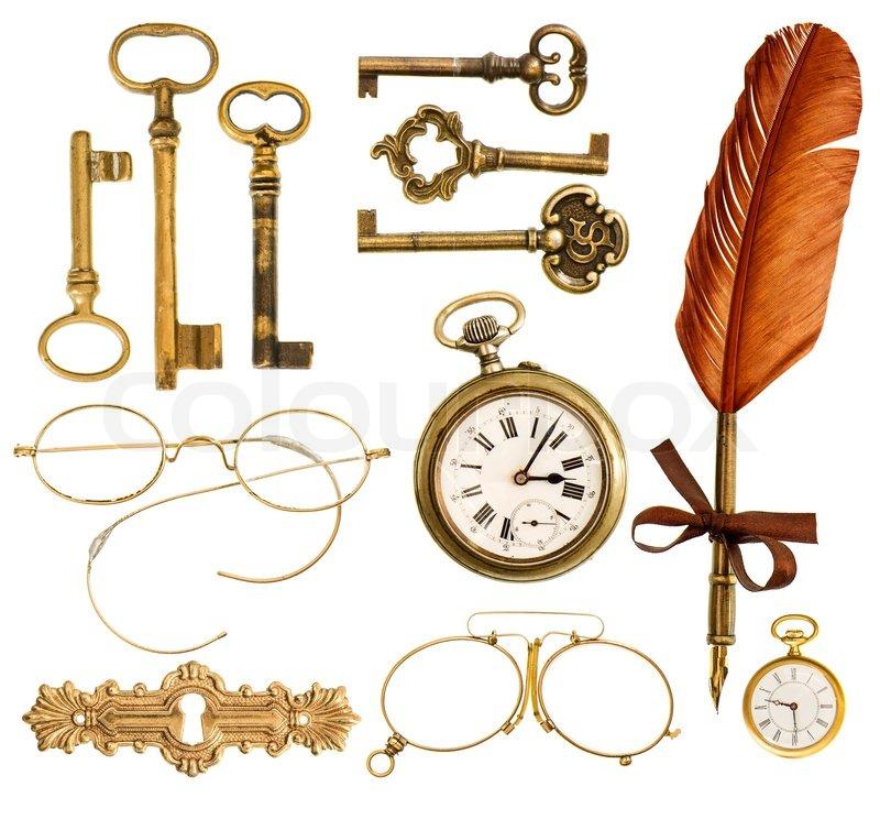 Set von vintage accessoires antiken schl ssel uhr tinte - Accessoire retro ...