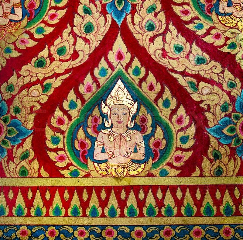 gem lde von deva an der wand in der templethis ist traditionell und generischen stil in thailand. Black Bedroom Furniture Sets. Home Design Ideas