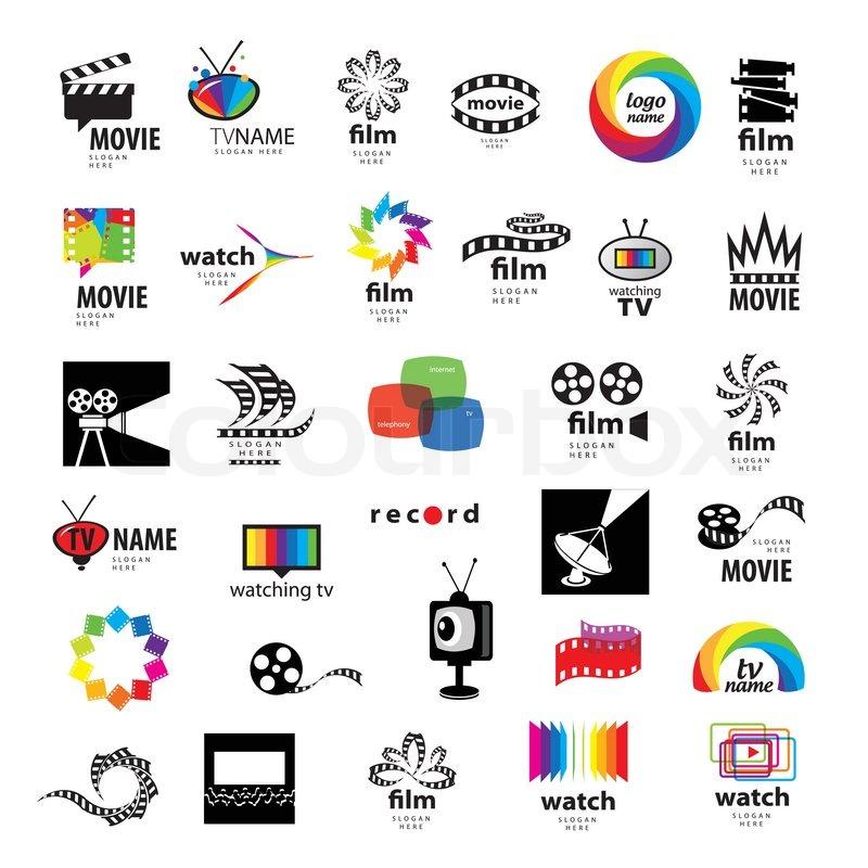 Collection Of Logos Tv Video Photo Stock Vector