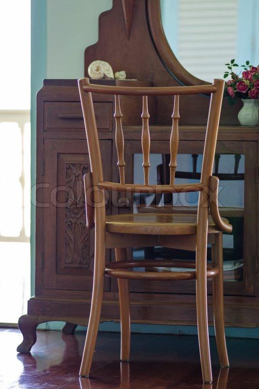 Old teak wood furniture, stock photo