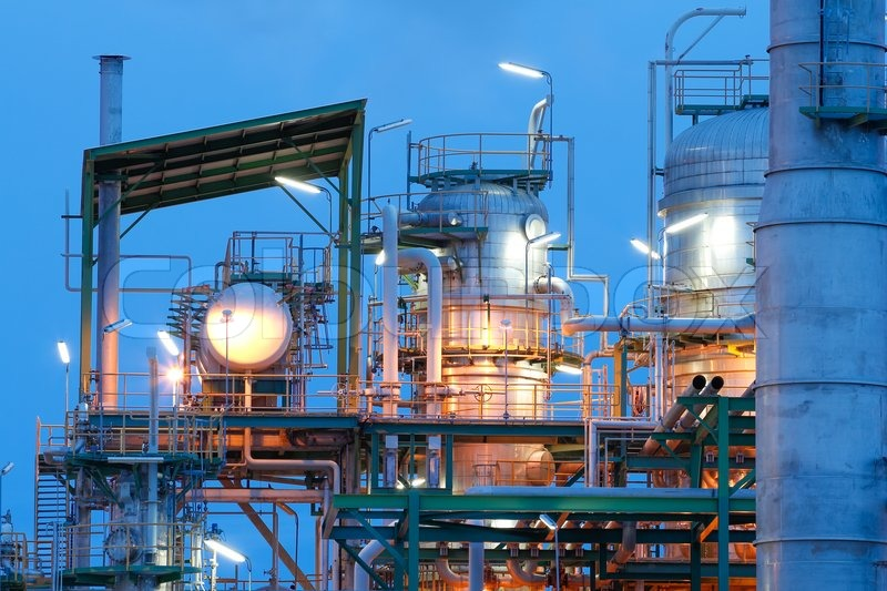Chemical plant structure with lighting reflection, stock photo