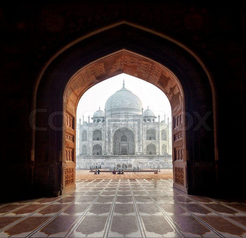 India Taj Mahal Indian Palace In Agra Tajmahal Arch View