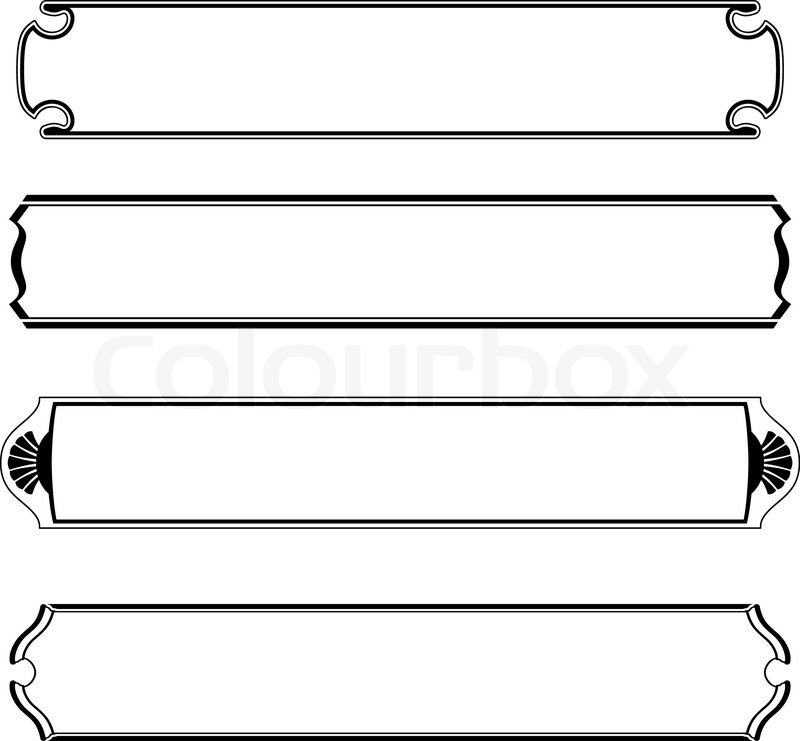 Vector set of simple black banners border frame | Stock Vector ...