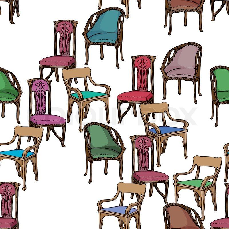 jugendstil m bel muster vektorgrafik colourbox. Black Bedroom Furniture Sets. Home Design Ideas