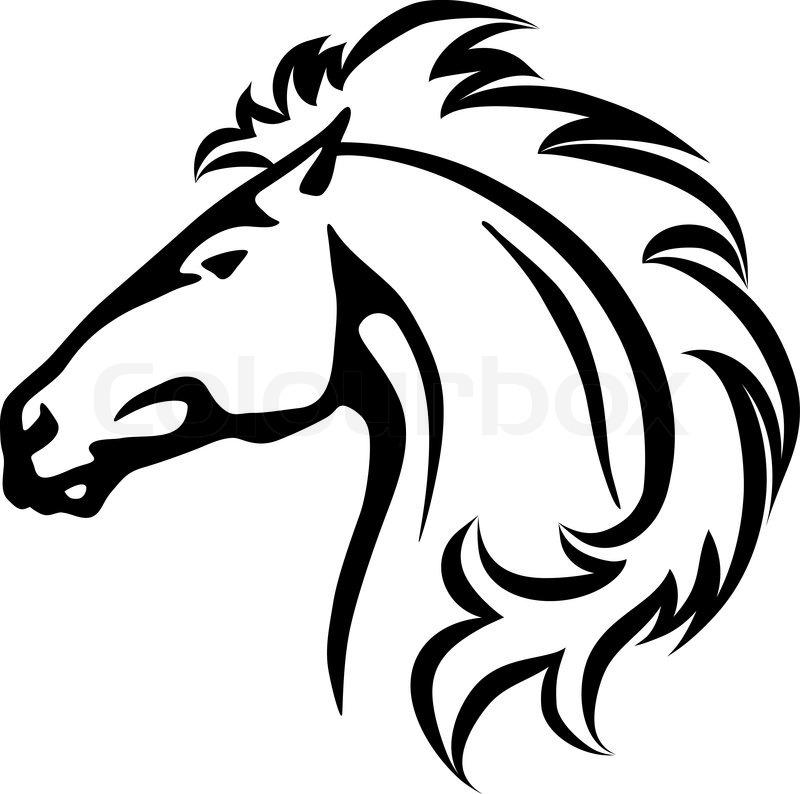 wildes pferd den kopf  stockvektor  colourbox