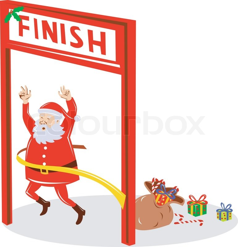 Stock vector of 'illustration of Father Christmas Santa Claus running a race on finish line on isolated background done in retro style'