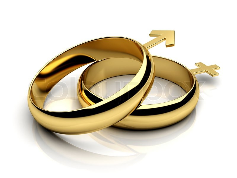 Two wedding rings with male female symbols Stock Photo Colourbox