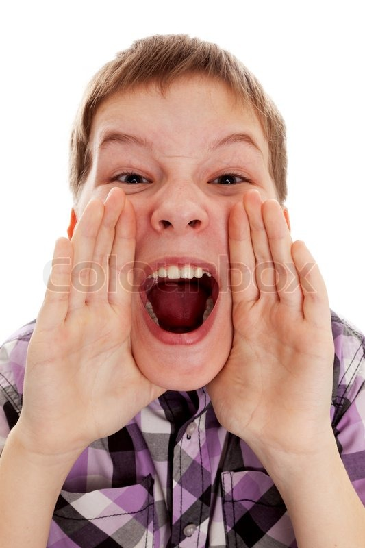 closeup of a boy screaming out loud stock photo colourbox