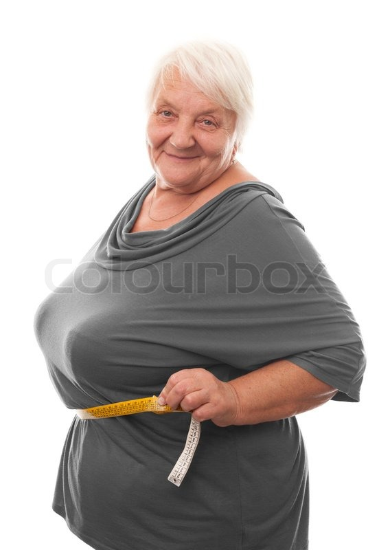 Fat woman measuring waist. Isolated over white background