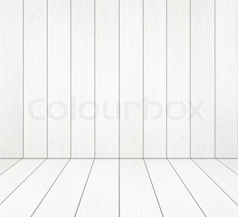 Room Interior With White Wood Wall And Wood Floor Background Stock
