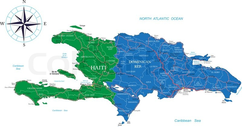 Highly Detailed Vector Map Of Dominican Republic And Haiti With - Haiti regions map