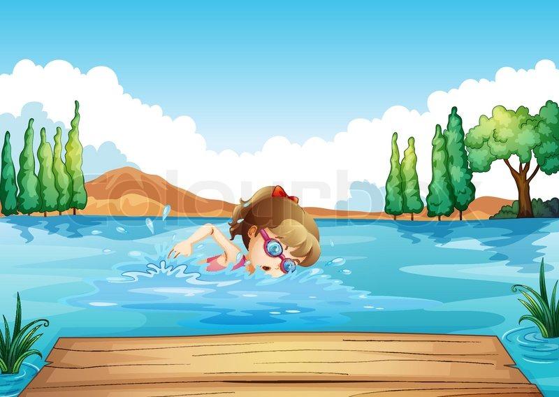 Рисунок купаться в море