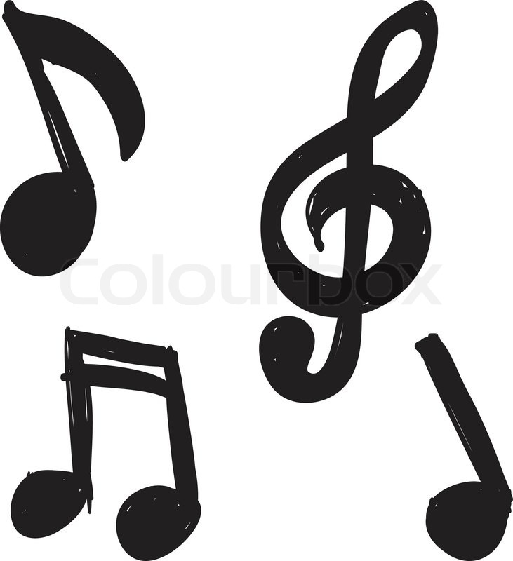 Set Of Hand Drawn Music Notes Stock Vector Colourbox