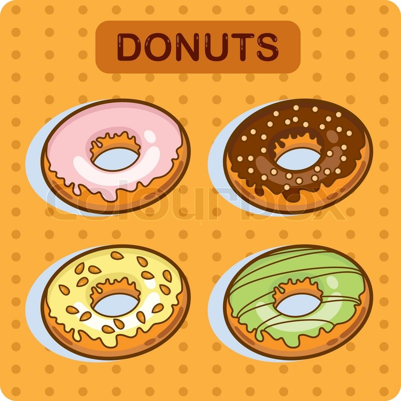 Cartoon Doughnut Factory: Cartoon Vector Set Of Donuts Cartoon