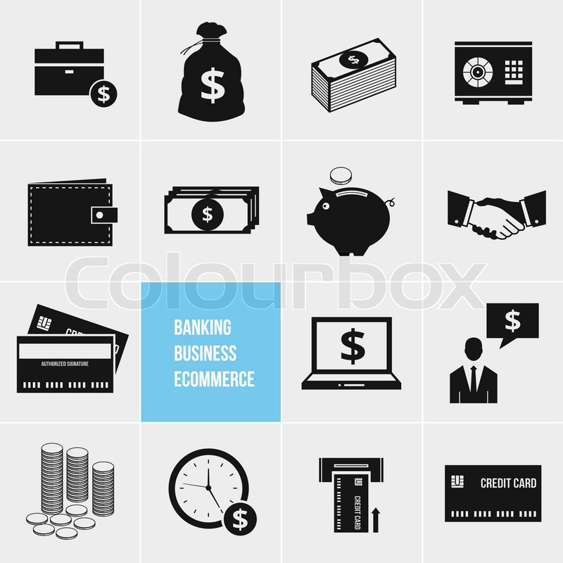 E-Commerce-Banken und Finanzen Geld Symbole festlegen | Vektorgrafik ...