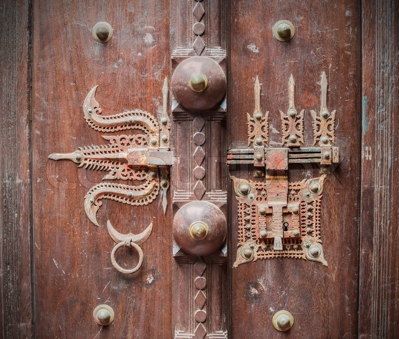 Traditional Indian Ancient The Lock On A Door Stock