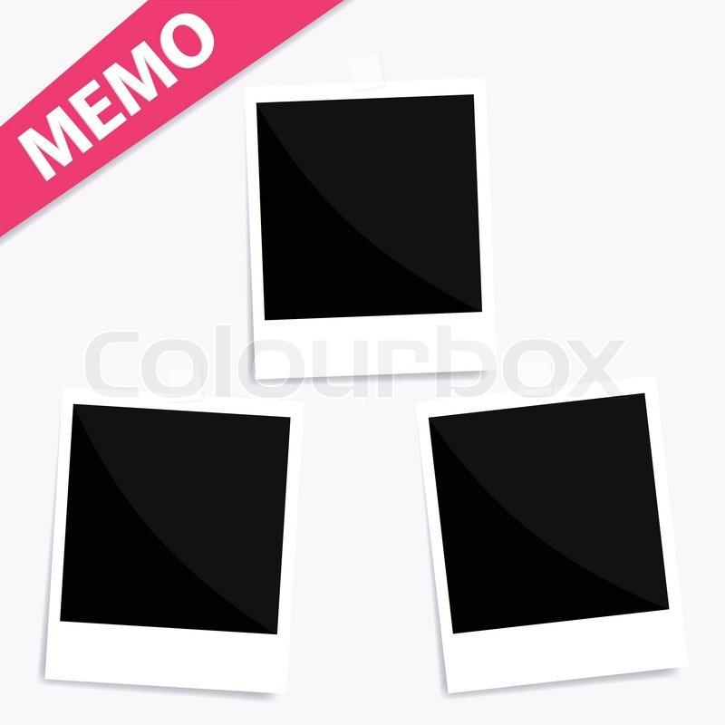 3 memo polaroid foto an der wand vektorgrafik colourbox. Black Bedroom Furniture Sets. Home Design Ideas