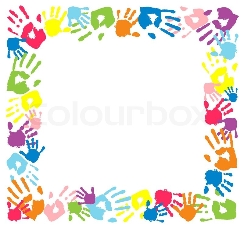 Rahmen aus Farbe Handabdrücke. | Vektorgrafik | Colourbox