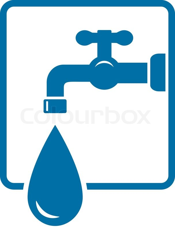 Sign with tap and big water drop | Stock Vector | Colourbox