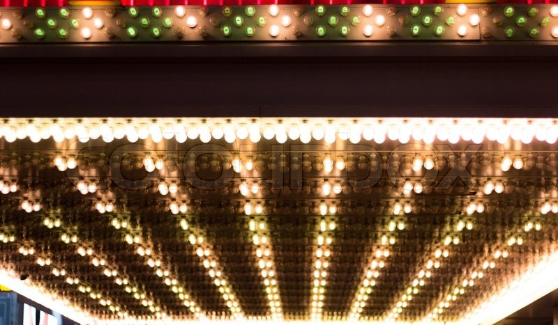 Golden Bulbs Lights Marquee Broadway Stock Photo