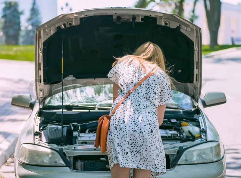 Car Broke Down >> Woman Car Broke Down Stock Image Colourbox
