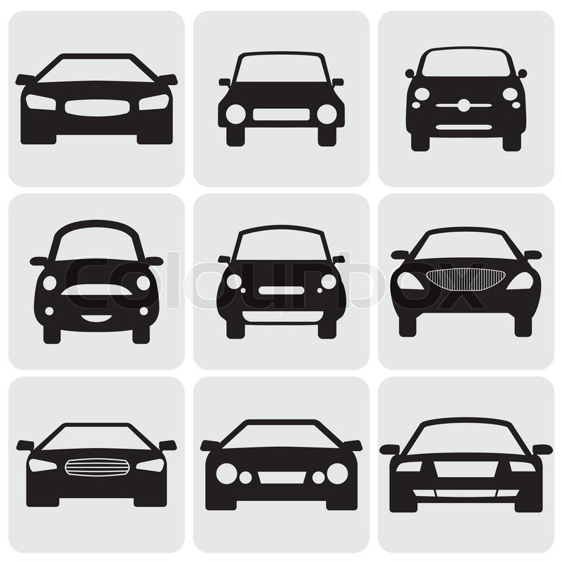 Compact And Luxury Passenger Car Iconssigns Front View Vector