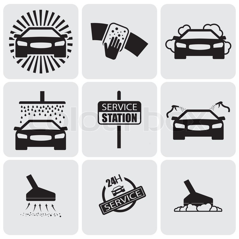 Car Wash Iconssigns Set Of Cleaning Stock Vector