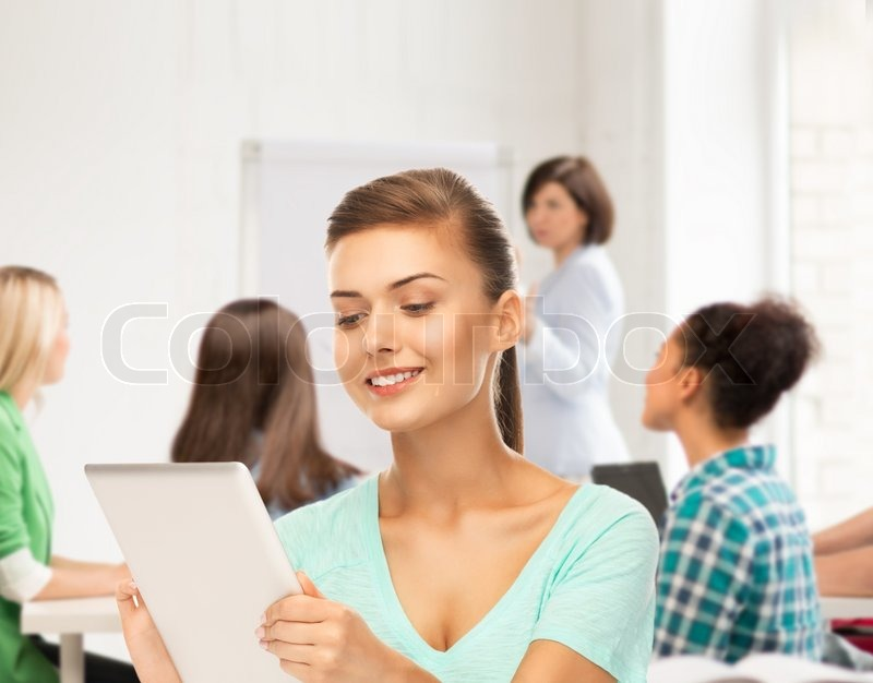 Stock image of 'education and internet concept - student with tablet pc in college'