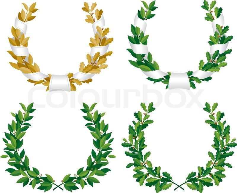 laure and oak wreath stock vector colourbox