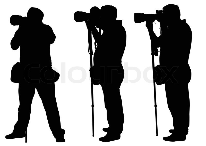photographers with monopod silhouettes vector