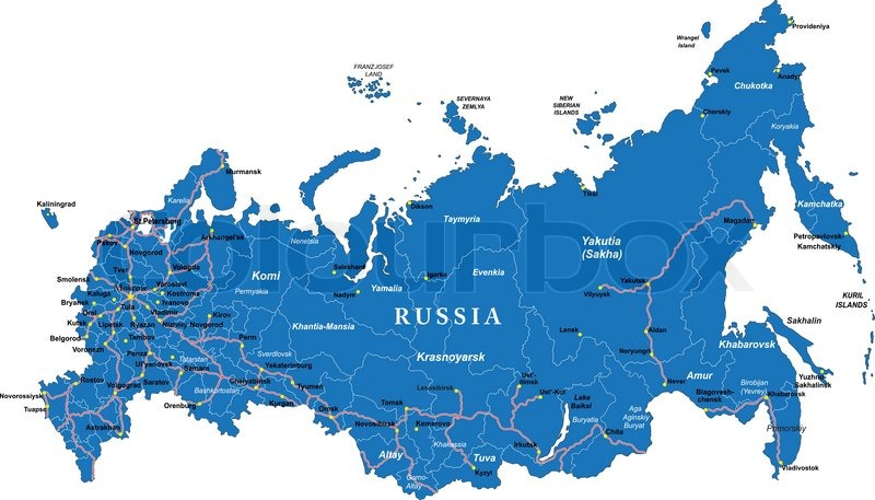 Highly detailed vector map of Russia with administrative regions