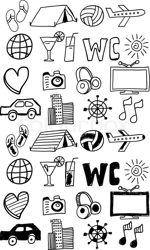 Travel Icons Set Doodles Hand Drawn Stock Vector