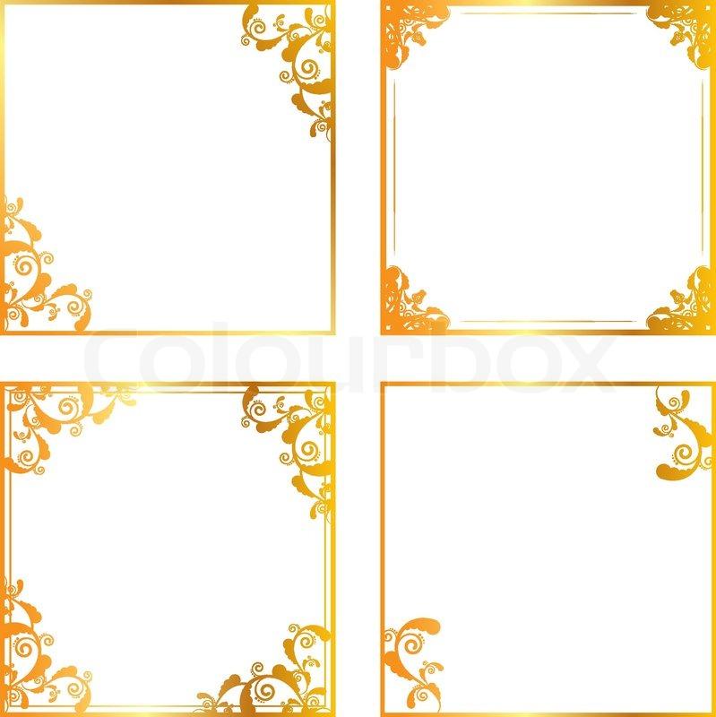 Set of gold floral frames | Stock Vector | Colourbox
