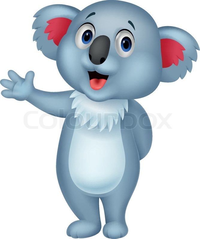 Stock vector of 'Vector illustration of Cute koala cartoon hand waving ...