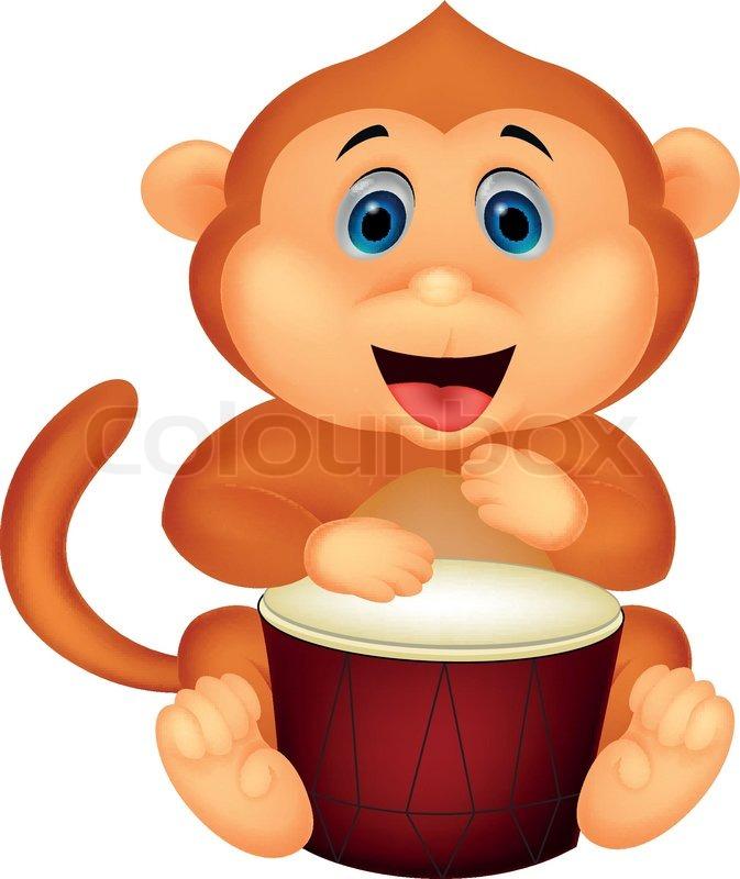 Cute Monkey Cartoon Playing Cymbal Stock Vector Colourbox