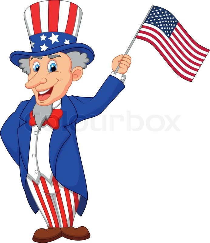uncle sam cartoon holding american flag stock vector Uncle Sam Black and White Clip Art Uncle Sam Drawing