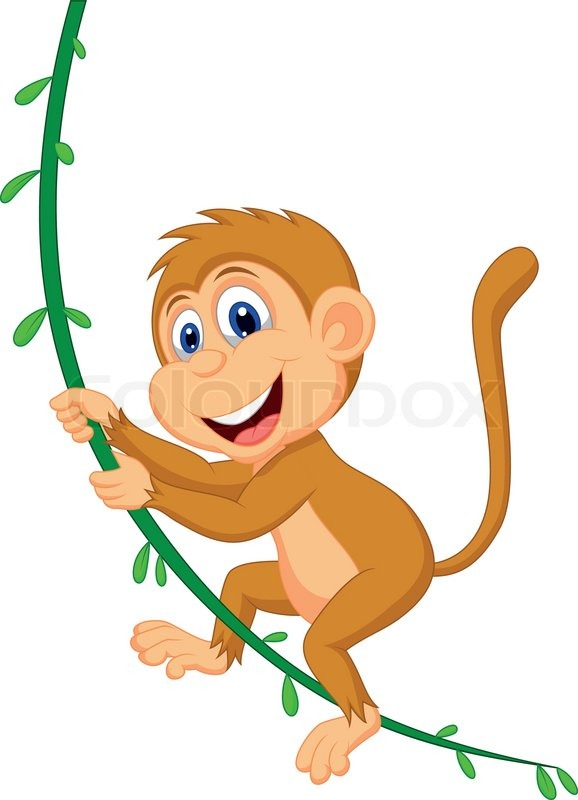 cute monkey cartoon swinging stock vector colourbox monkey hanging upside down clipart hanging monkey clipart free