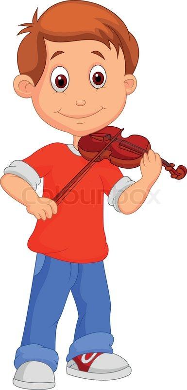 vector illustration of boy cartoon playing his violin