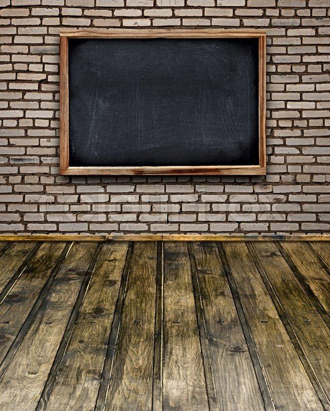 Classroom Board Design ~ Blank chalkboard menu hang on brick stock photo