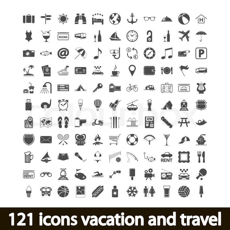 121 icons vacation and travel. Vector illustration ...