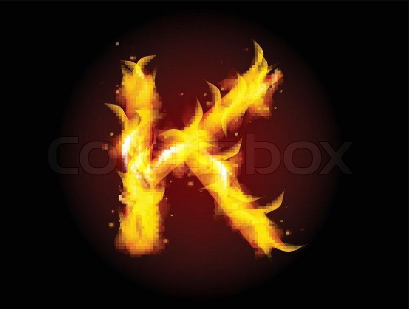 fire burning alphabet letter k stock vector colourbox