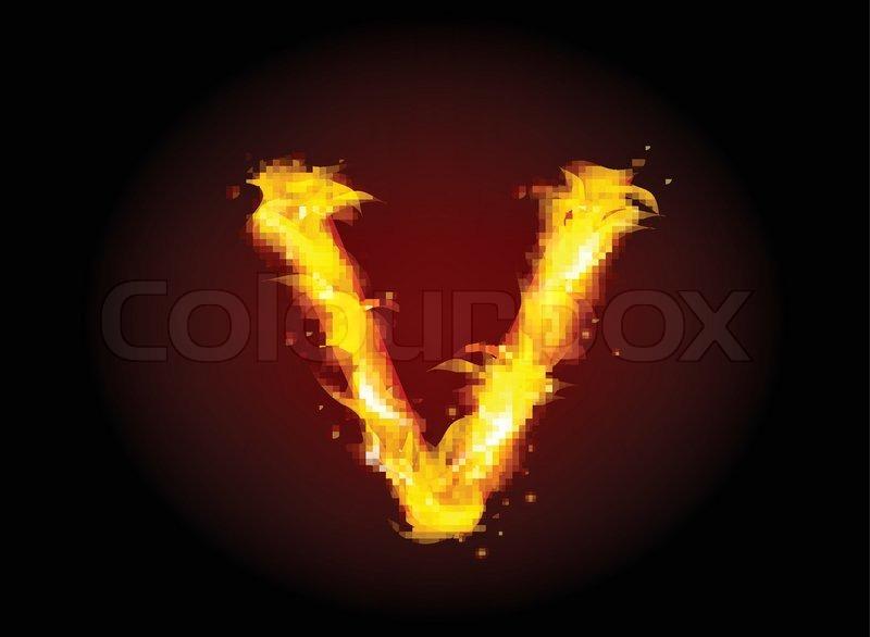 Fire burning alphabet letter V | Stock Vector | Colourbox