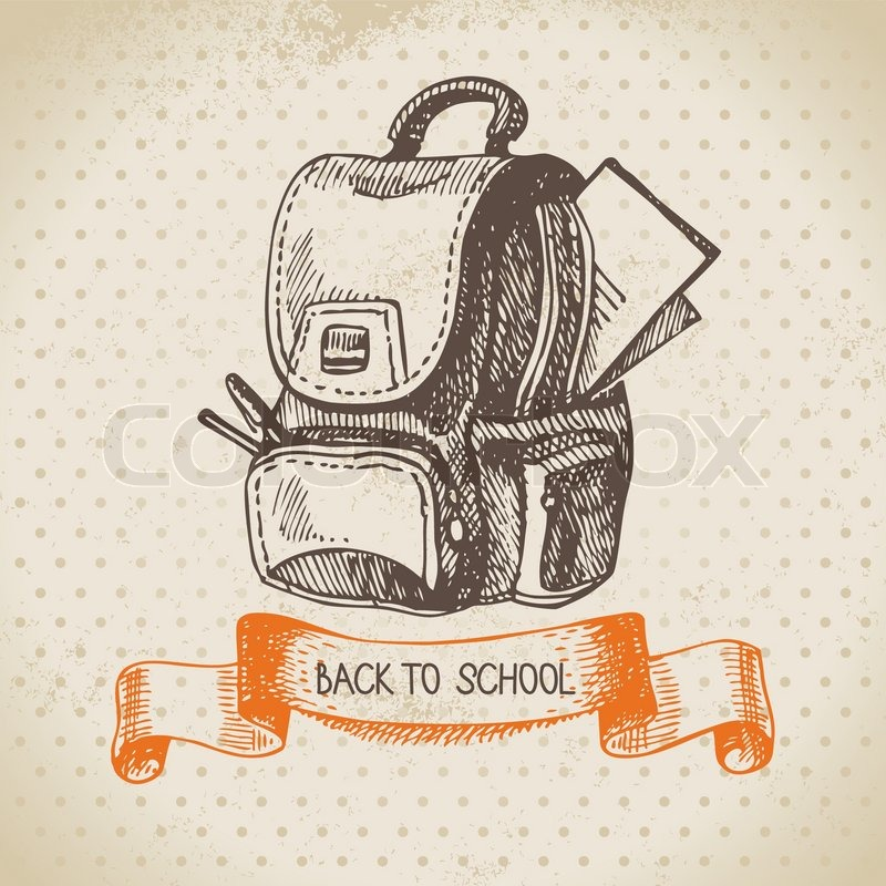 Vintage Vector Background With Hand Drawn Back To School