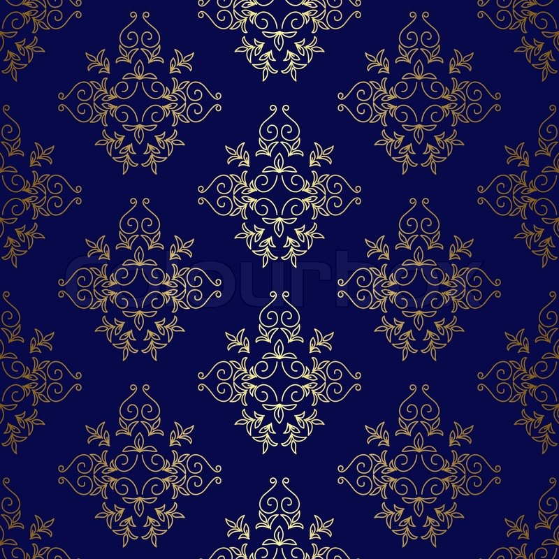 Dark blue seamless vintage pattern stock photo colourbox for Dark blue and gold wallpaper