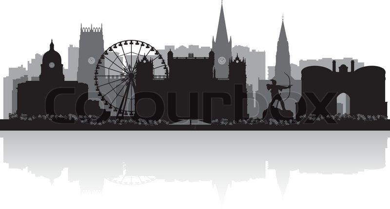 Nottingham City Skyline Silhouette Vector Illustration