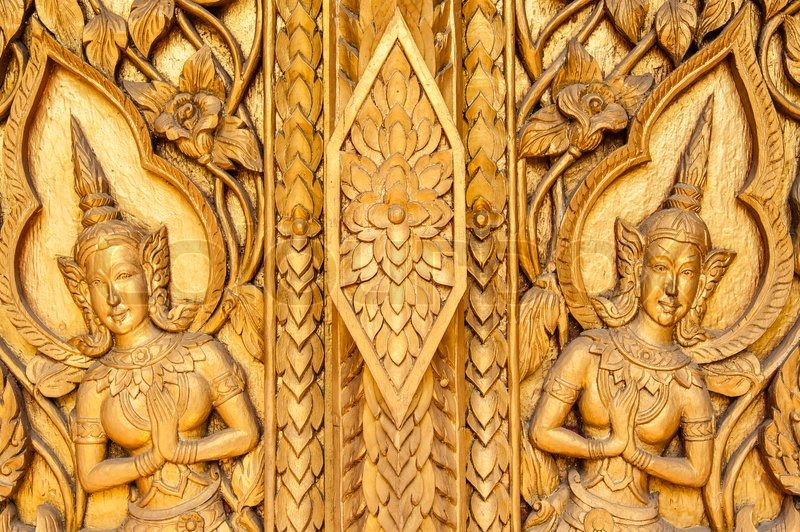 Ancient art pattern on the wooden stock photo